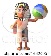 3d Tutankhamun Pharaoh Character Playing Beach Ball by Steve Young