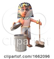 Tutankhamun Pharaoh 3d Character Cleaning With A Broom And Rubbish Bin by Steve Young