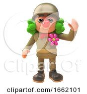 3d Army Soldier Character In Uniform And Dressed As A Clown With Red Nose And Wig by Steve Young