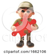 Poster, Art Print Of Army Soldier Character In Uniform Holding A Piece Of A Jigsaw Puzzle