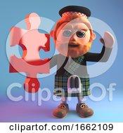 Poster, Art Print Of Scottish Man In Tartan Kilt Holding A Piece Of A Jigsaw Puzzle