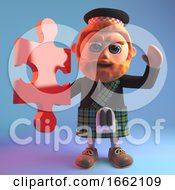 Scottish Man In Tartan Kilt Holding A Piece Of A Jigsaw Puzzle