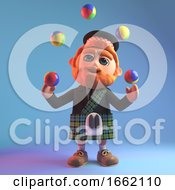 Scottish Man Character In Tartan Kilt Juggling Coloured Balls 3d Illustration