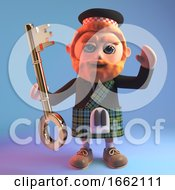 Red Bearded Scottish Man In Tartan Kilt And Sporran Holding A Golden Key