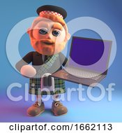 Bearded Scottish Man In Tartan Kilt And Sporran Holding A Laptop Computer