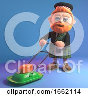 Bearded Scottish Man With Kilt Mowing The Lawn With A Hovering Lawnmower