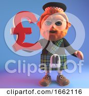 3d Scottish Man In Tartan Kilt And Sporran Holding A Pounds Currency Symbol