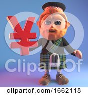 3d Scottish Man In Kilt With Sporran Holding A Japanese Or Chinese Yen Or Yuan Currency Symbol