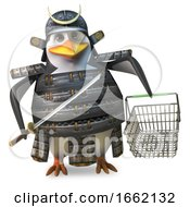 Penguin Samurai Warrior Carrying A Shopping Basket And Katana Sword