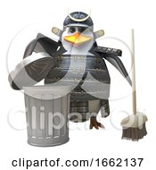 Noble Penguin Samurai Warrior In Armour Cleans Up With A Broom And Rubbish Bin by Steve Young