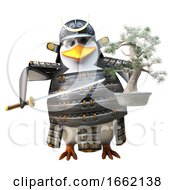 Brave Samurai Penguin Warrior In Armour Holding A Bonsai Tree And Katana Sword