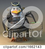 Penguin Samurai Warrior Character In 3d Holding A Sword And Shopping Basket