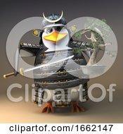Noble Penguin Warrior Samurai Character In 3d Holding A Bonsai Tree And Katana Sword