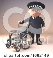 Helpful Policeman Police Officer Character In 3d Offering A Wheelchair