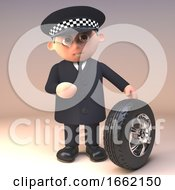 Serious Policeman Police Officer Character Is Checking The Tread Depth Of A Car Tyre