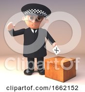 Policeman Police Officer In 3d Casting His Vote In A Democratic Election