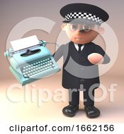 Policeman In Uniform Character In 3d Holding An Old Typewriter