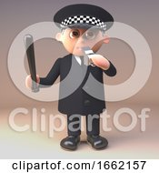 Policeman Police Officer In 3d Blowing His Whistle While Wielding A Truncheon