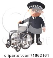 Helpful 3d Police Officer Policeman Character Standing By With A Wheelchair