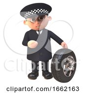 3d Police Officer Policeman Character Checks The Tread On A Car Tyre