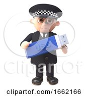 3d Police Officer Policeman Character In Uniform Holding A Usb Thumb Drive Memory Stick For Data Backup
