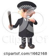 Police Officer Policeman 3d Character Blows His Whistle And Wields A Truncheon