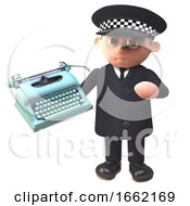 Police Law Enforcement Officer Character In Uniform Holding A Typewriter