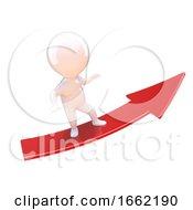 3d Little Man Riding A Red Arrow Upwards