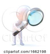 3d Little Man Looks Through Magnifying Glass
