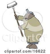 Middle Aged African American Man Using A Paint Roller While Painting A Building Clipart Image Graphic