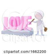 3d Little Man Carves Love