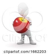 3d Little Man Holding An Apple