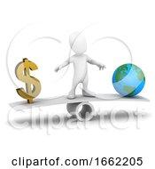 3d Little Man Balances Money Against The Earth