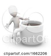 3d Little Man Has A Coffee Break