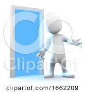 3d Little Man By An Open Door