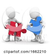 Poster, Art Print Of 3d Two People Co-Operate