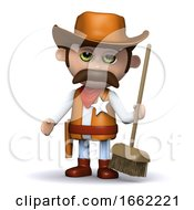 3d Cowboy Sheriff Hands Out A Broom