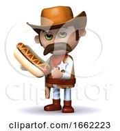 3d Cowboy Sheriff Eats A Hot Dog