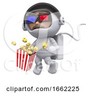 Poster, Art Print Of 3d Spaceman At The Movies