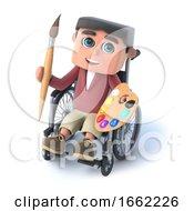 Poster, Art Print Of 3d Boy In Wheelchair Is An Artist