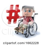 3d Cartoon Boy In Wheelchair Holding A Hash Tag Symbol
