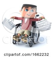 3d Boy In Wheelchair With Empty Shopping Baskets