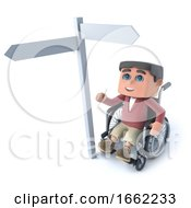 3d Boy In A Wheelchair Looks At Roadsign