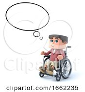 3d Boy In Wheelchair With Empty Thought Bubble