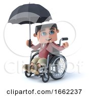3d Boy In Wheelchair With Umbrella by Steve Young