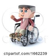 3d Boy In Wheelchair Is Waving Hello by Steve Young