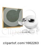 3d Golf Ball Teachs At The Blackboard