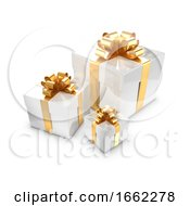 3d Three White And Gold Gift Boxes