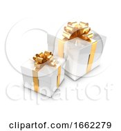 3d Two White And Gold Gift Boxes