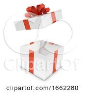 3d White And Red Gift Box Bursts Open